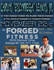 Carlos Lemos Jiu Jitsu Seminar Poster Forged Fitness